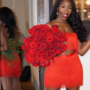 Red Fringe Two Piece Co-ord Set